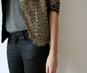 fashion, gold, and jeans image