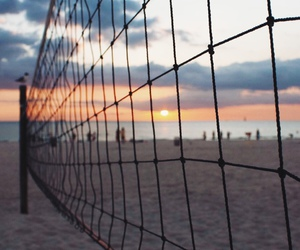 beach, volleyball, and sunset image
