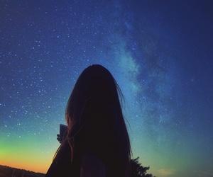 blue, estrelas, and galaxy image