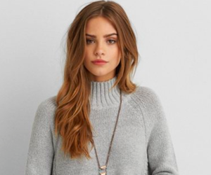 brunette, hair, and sweater image