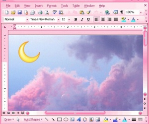 pink, moon, and grunge image