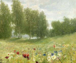 art, green, and meadow image