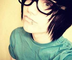 emo, boy, and glasses image
