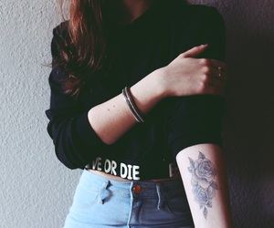 arm, hair, and tattoo image