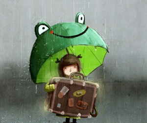 drawing, suitcase, and umbrella image