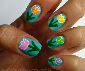 beautiful, flowers, and nail image