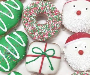 christmas, christmas tree, and donuts image
