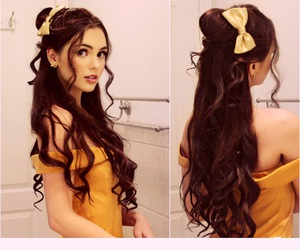 belle, brunette, and disney image
