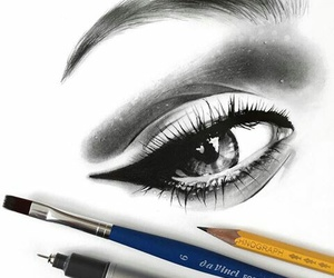 black and white, makeup, and drawing image