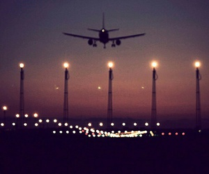 plane, night, and travel image