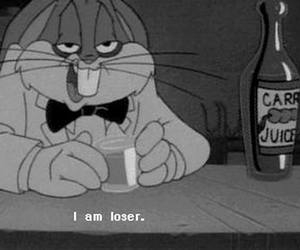 loser, bugs bunny, and black and white image