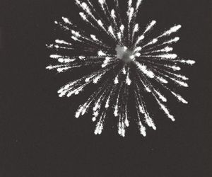 fireworks, black and white, and night image