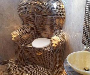 gold, rich, and toilet image