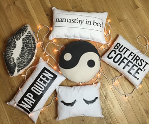 coffee, pillows, and namastay in bed image