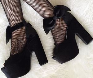 black tights, heels, and goth image