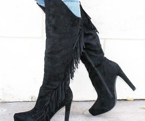 black boots, ootd, and fringe boots image