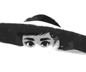 audrey, drawing, and black image