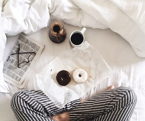 coffee, donuts, and bed image