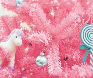 pink, christmas, and unicorn image