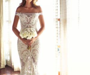 dress, lace, and wedding image