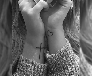 cross, cuore, and tattoo image