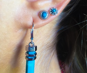 blue, earrings, and girls image