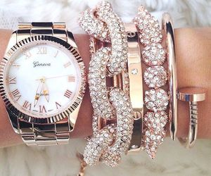 watch, gold, and jewelry image