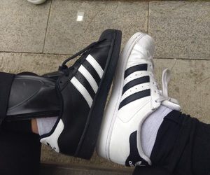 adidas, black and white, and fashion image