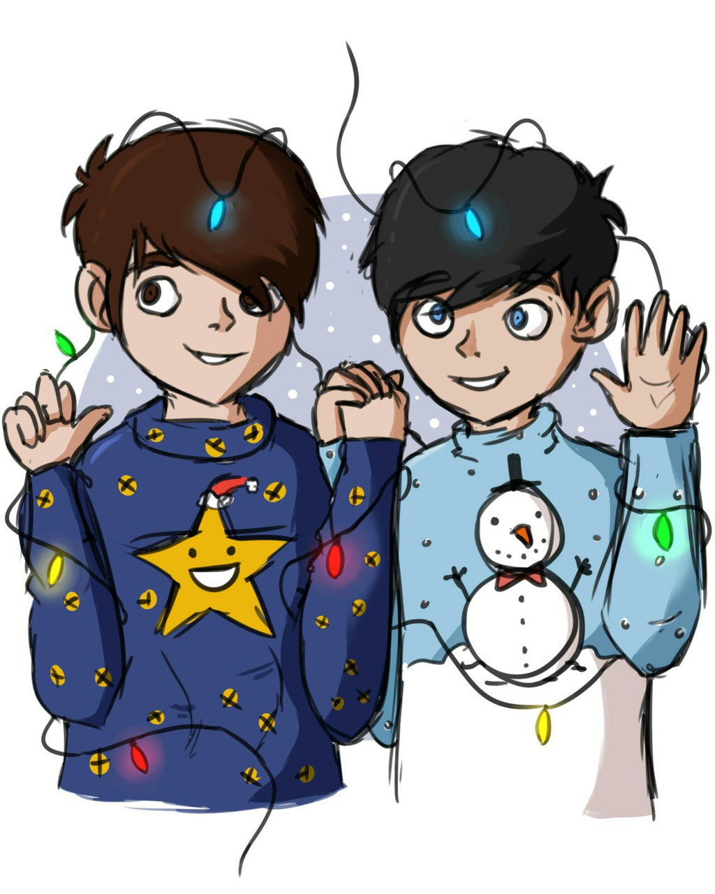 Dan And Phil Christmas Sweater.Almost Christmas Awe Dan And Phil Look Cute In Their Ugly