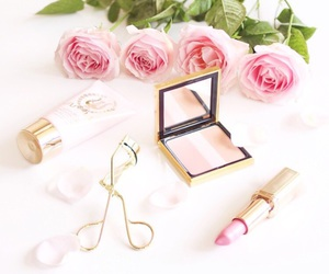 make up, pink, and roses image