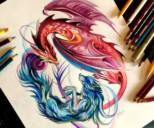 art, dragon, and red image