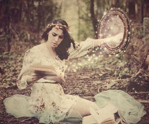 mirror, girl, and book image