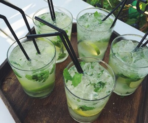 drink, limes, and glass image