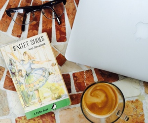 ballet shoes, books, and coffee image