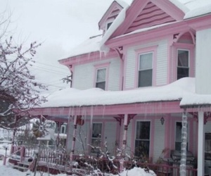 pink, house, and aesthetic image