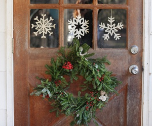 christmas, snowflake, and door image