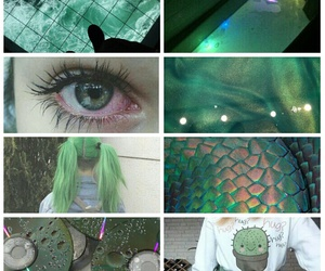 aesthetic, green, and holographic image