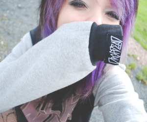 girl, purple hair, and drop dead image