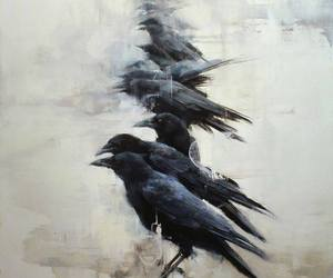 art, birds, and crow image