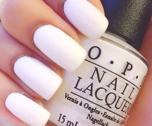 nails, white, and opi image
