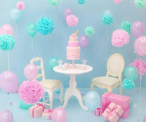 balloons, pastel, and cake image