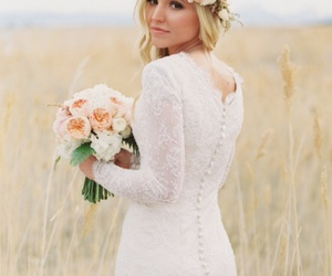 bride, wedding, and flowers image