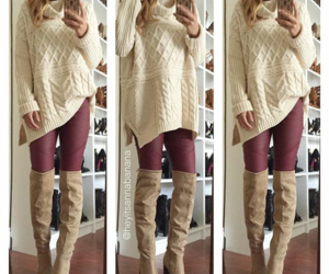 boots, cardigan sweater, and pants image