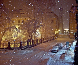 night, snow, and street image