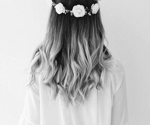 hair, flowers, and hairstyle image
