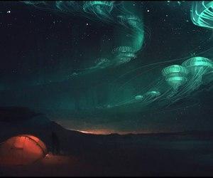 art, jellyfish, and sky image