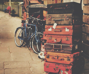 travel, vintage, and bicycle image