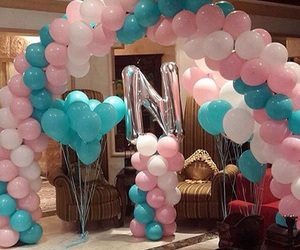 balloons, gathering, and pink image