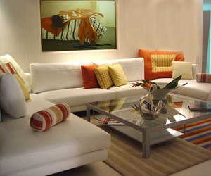 glass coffee table, white sofa, and amazing living room image