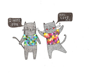 cat, illustration, and love image